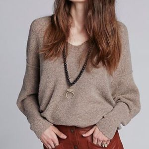 Free People softly vee taupe sweater